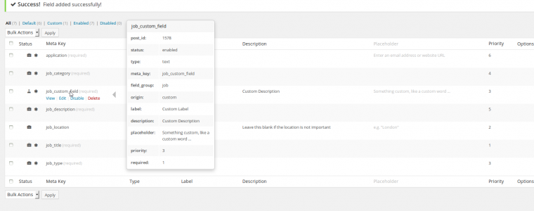 Custom Job Field in List With Details Popover