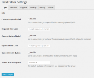 WP Job Manager Field Editor Job Settings