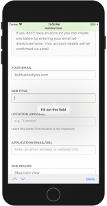 WP Job Manager Field Editor HTML5 Required Validation iPhone Fill Out Field