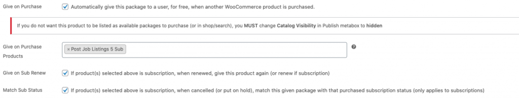 WP Job Manager Packages Subscription Give Settings